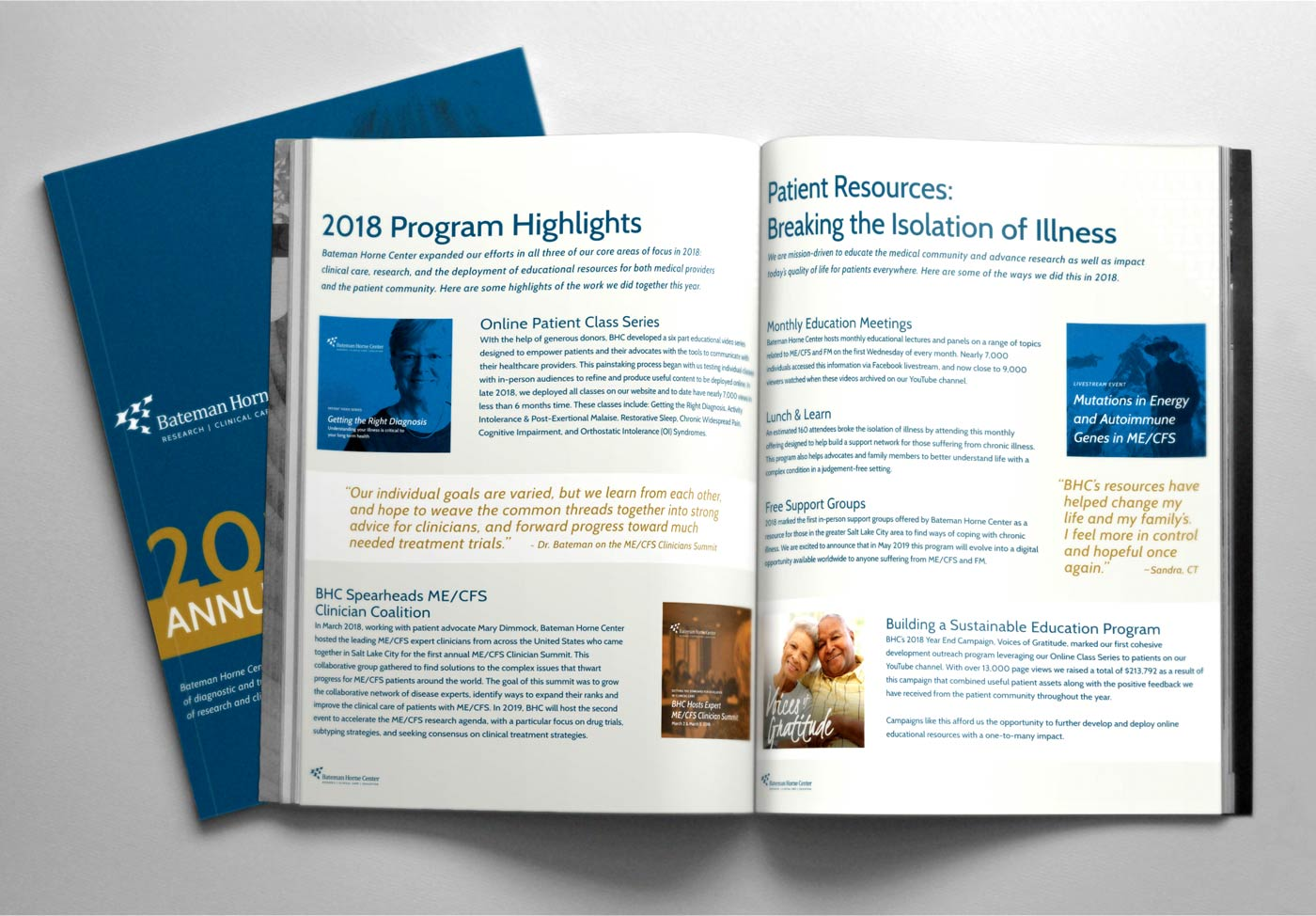 Annual report, presentation deck, and book design, layout and production for nonprofits