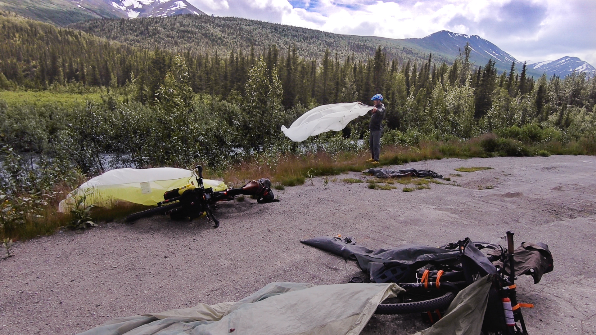 Bikepacking Alaska | Airing out the tents after several days of rain